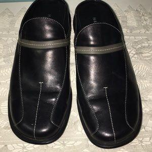 Halogen Black Leather Mules